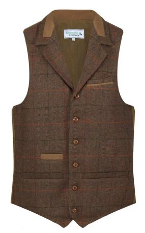 MENS WOOL Wilmslow Quality TWEED Check Waistcoat With Collar Russet Brown New